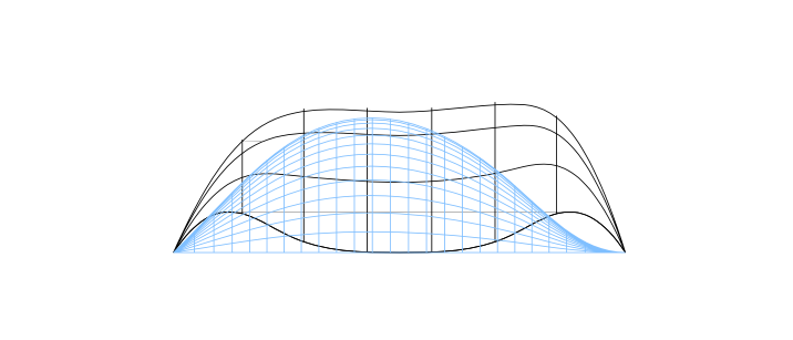 Front view of a shell showing the influence of changing boundary condition on the funicular shape using the genetic algorithm approach. Illustration: NTNU/Marcin Luczkowski.