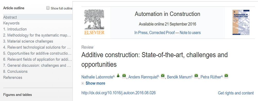 Additive construction: State-of-the-art, challenges and opportunities
