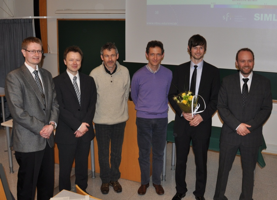 Dr. Egil Fagerholt with the committee and supervisors. From Left: Odd Sture Hopperstad, Tore Børvik, Pierre Vacher, François Hild, Egil Fagerholt and Arve Grønsund Hanssen.
