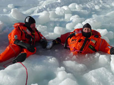 Testing of rescue suits in Arctic conditions.