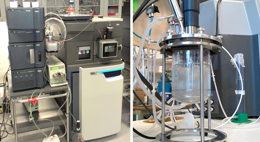 Core instrumentation: mass spectrometers and bench-top bioreactors. Photo