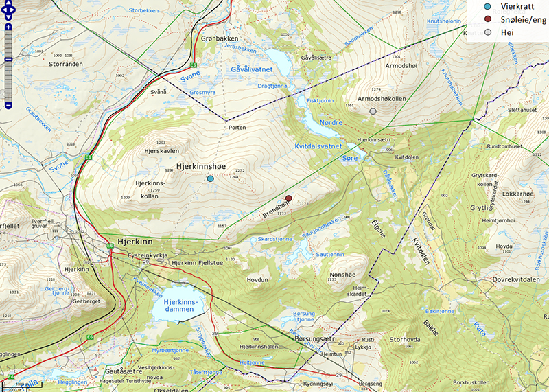 Map of study area the willow scrub (blue) and meadow (red) at Hjerkinnshøe, and the heath (white) at Armodshøkollen, Dovre Mountains, Norway.