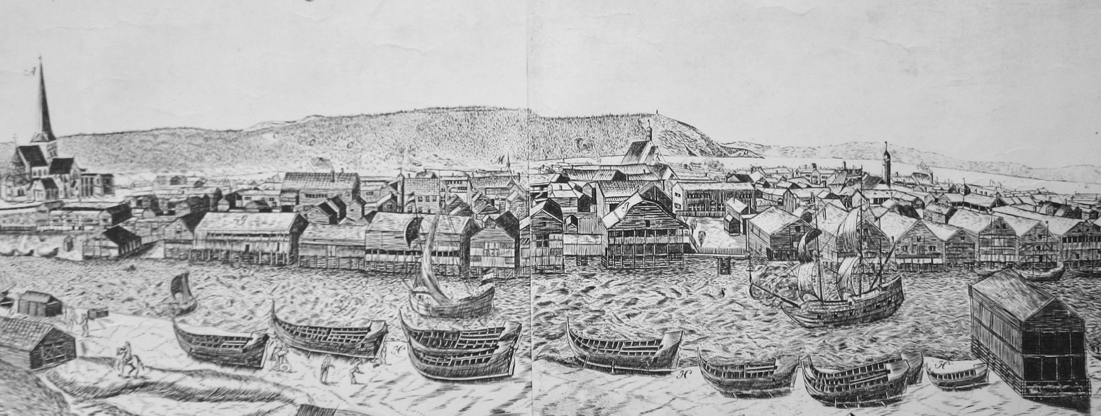 Maschius´engraving of Trondheim ca 1670. Photo by Axel Christophersen.