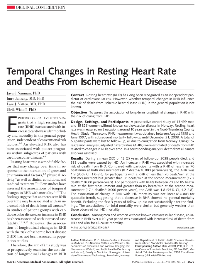 Resting heart rate and deaths paper