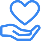 Icon study skills support: hand with heart