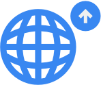 Icon research support: symbol for globe with an arrow up