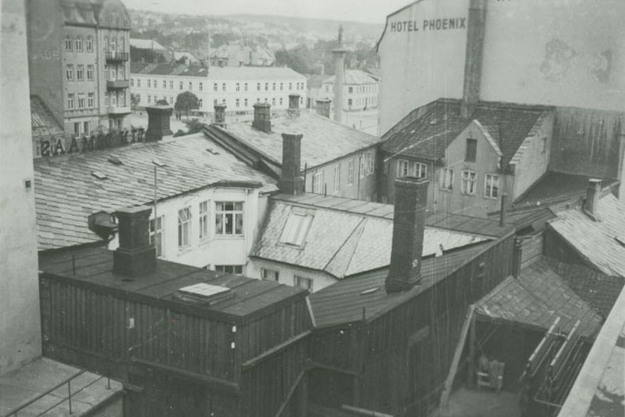 Roofs of old, wornout houses behind Hotel Phoenix, 1930's -1950's.