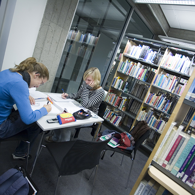 Picture of students in the library
