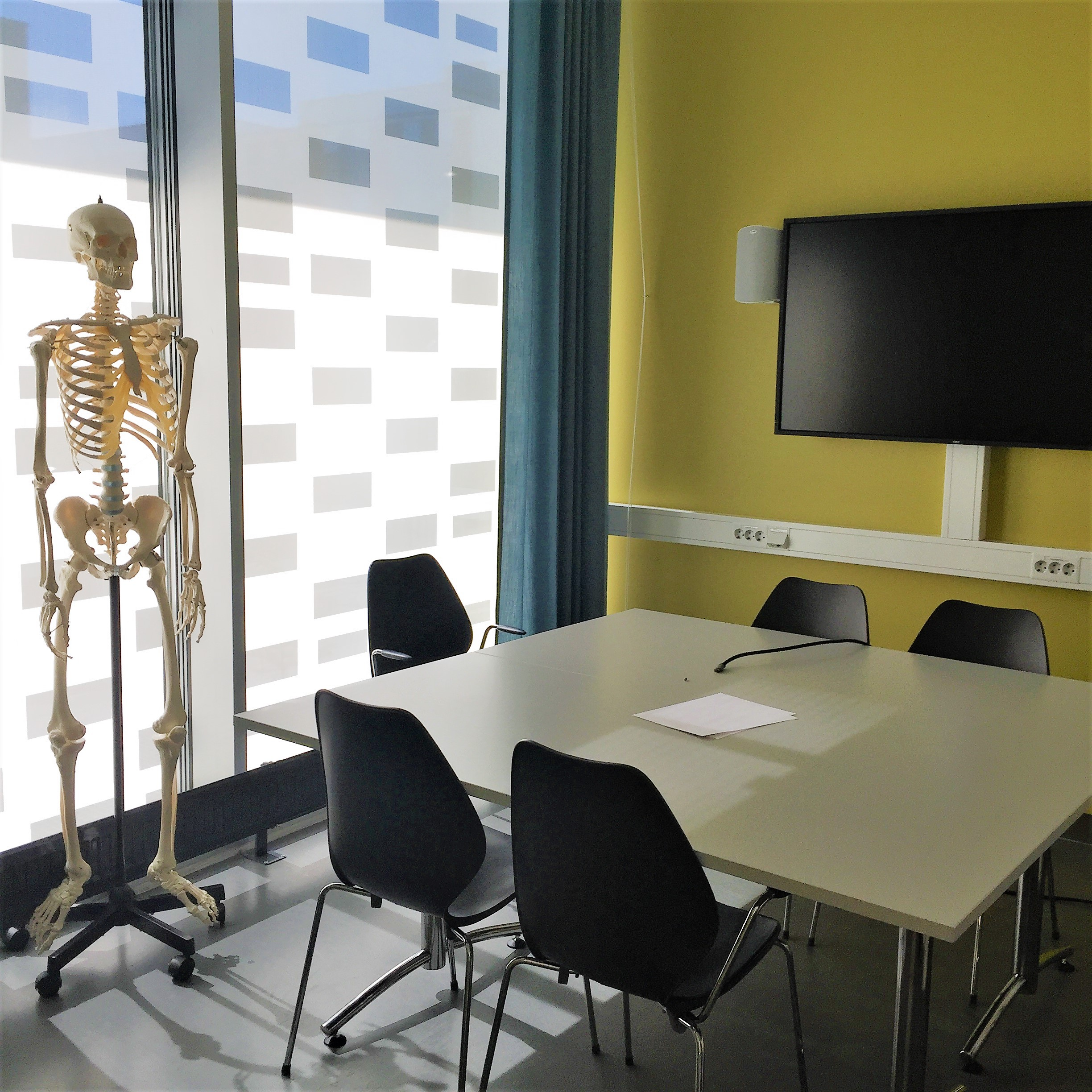 Group study room with PC and skeleton