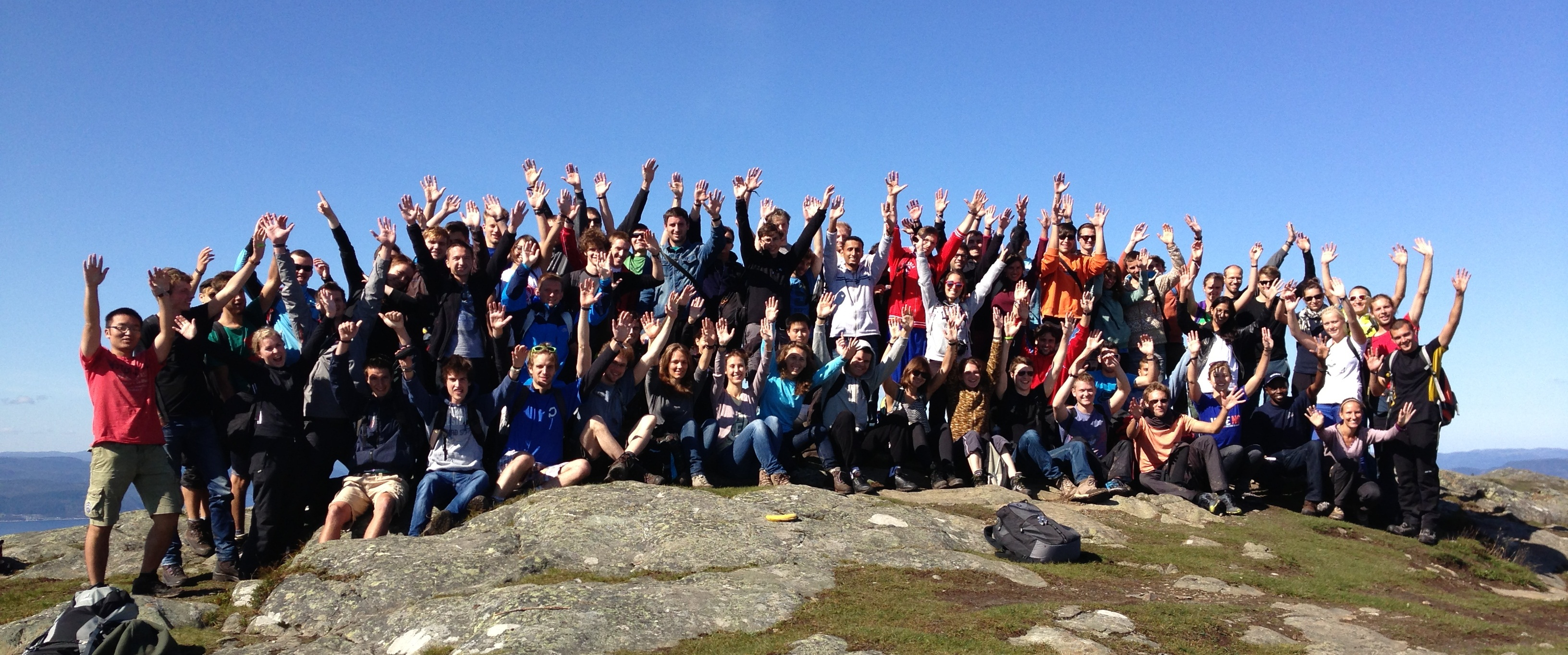 Students at the top of Storheia