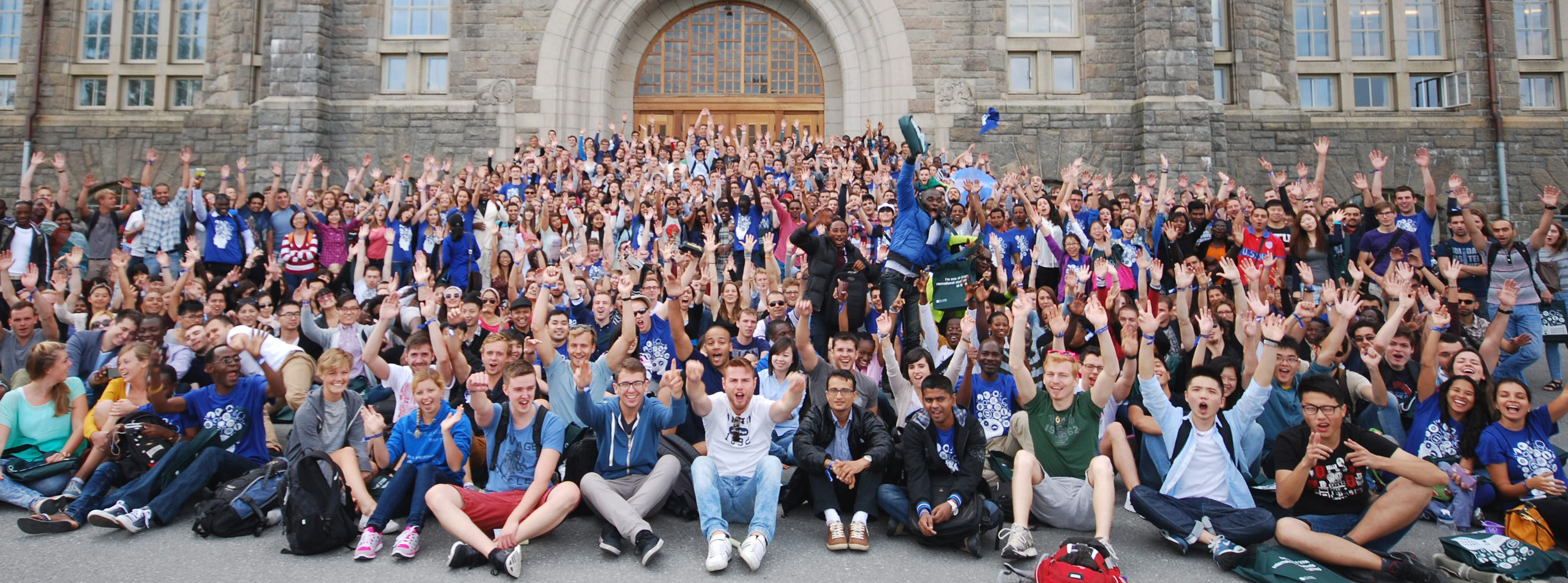 International students in front of the Main Building