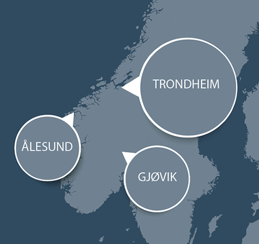 Map showing NTNU's three university cities