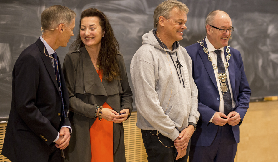 Professor Helge Holden, Professor May-Britt Moser, Professor Edvard Moser, Rector Gunnar Bovim. Photo: Julie Gloppe/NTNU