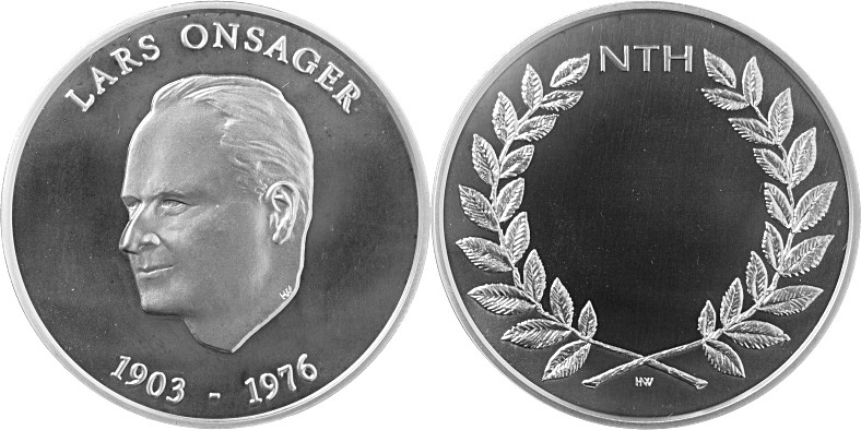 The Lars Onsager Medal, obverse and reverse