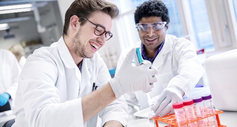 Two male students are smiling while doing lab work. Photo.