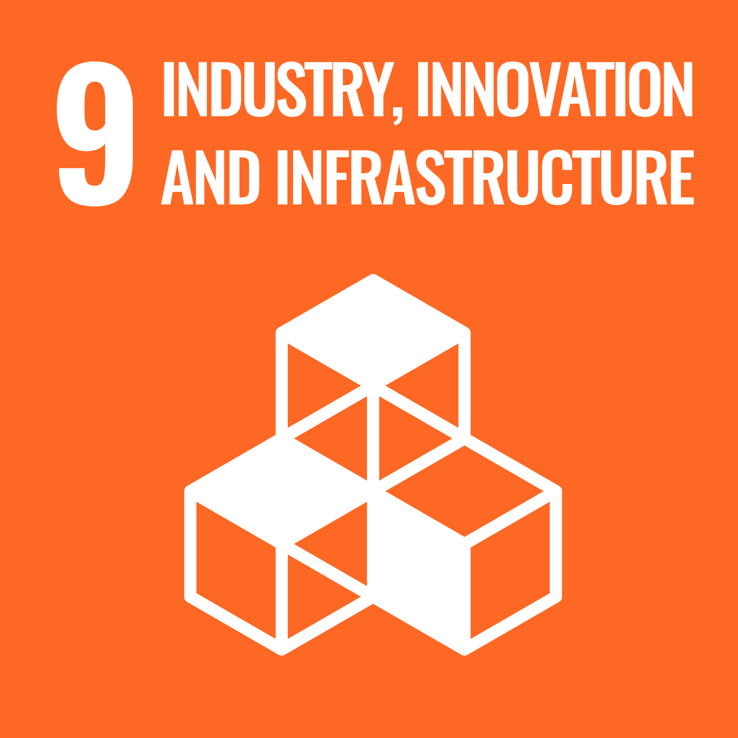 UNs Sustainable Development Goal 9 Industries, innovation and infrastructure. Link to UNs Sustainable development goal number 9