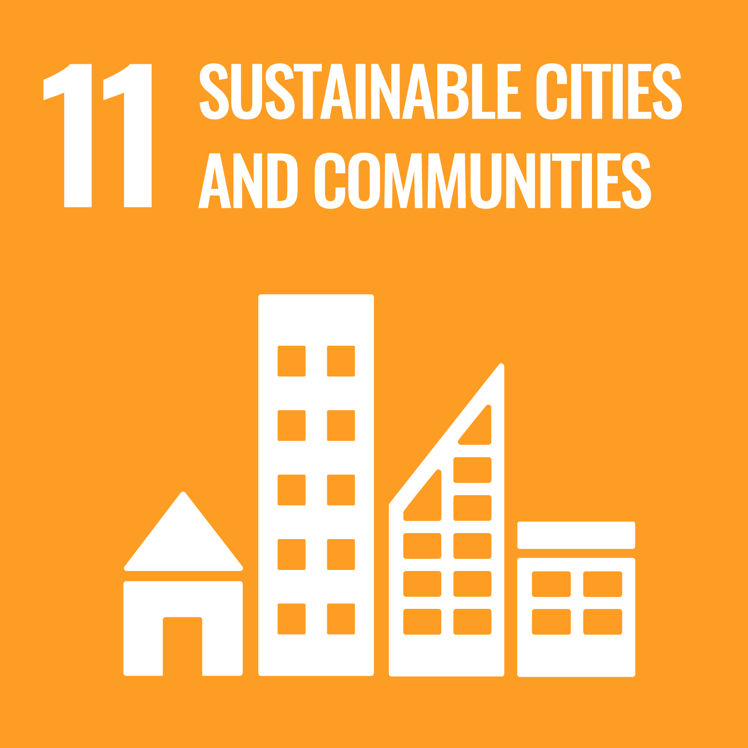 UNs Sustainable Development Goal 11 Sustainable cities and communities. Link to UNs Sustainable development goal number 11