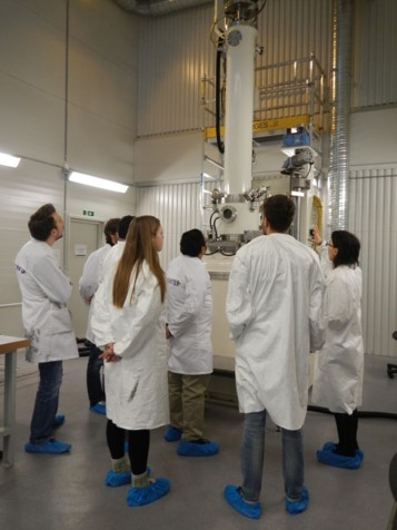 Students at the district heating plant at Winter School 2014.