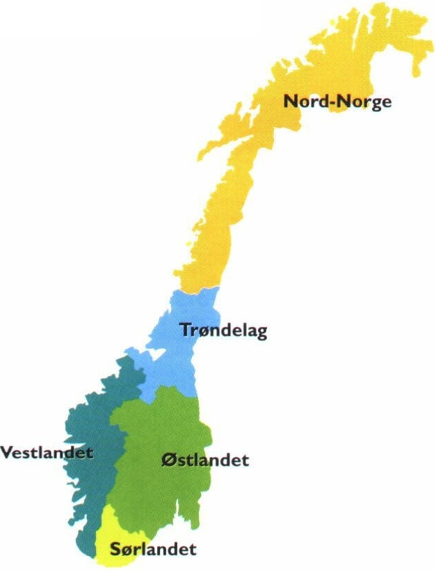 kart landsdeler norge Extras 5.2 LearnNoW   NTNU kart landsdeler norge