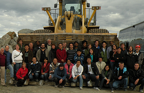 Students and lecturers together with Norwegian Coastal Administration staff at a breakwater construction site in Northern Norway (September 2009).