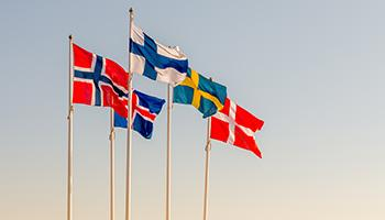 The five flags representing the five Nordic countries. Photo.