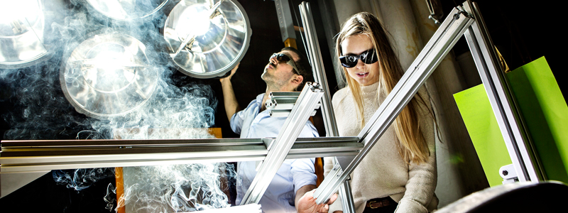Two people are simulating artificial sun