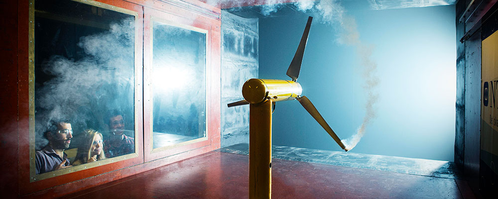 Wind turbine in a wind tunnel. Link to NTNU Team Wind webpage. Photo: Geir Mogen