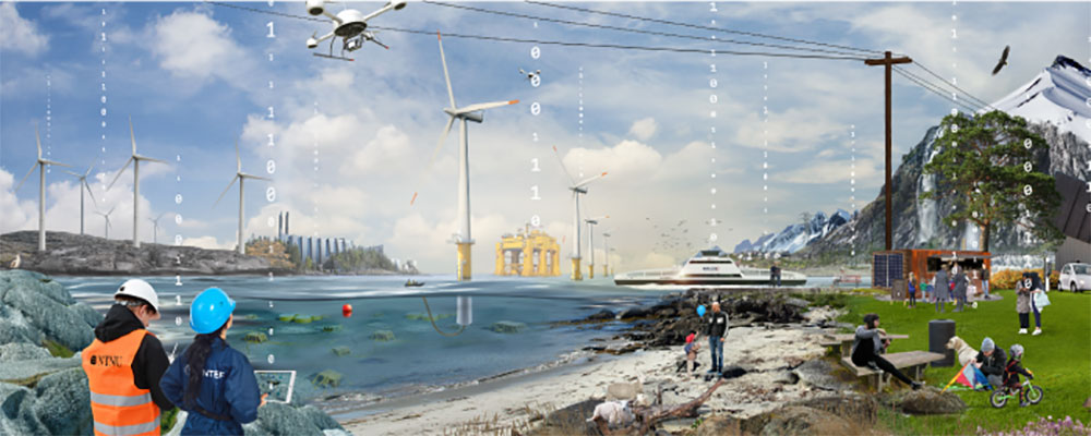 Illustration with wind turbines, water and two people. Link to NTNU Team Smartgrid webpage.