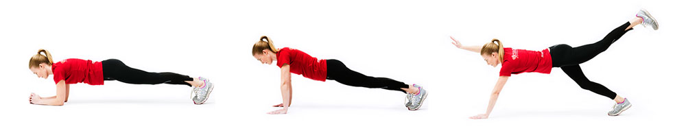 Woman doing the plank on her elbows, followed by woman doing the plank on straight arms and woman doing the plank with oposit arm and leg off the ground
