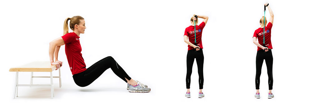Woman doing triceps dips, than woman doing tricems with elastic band