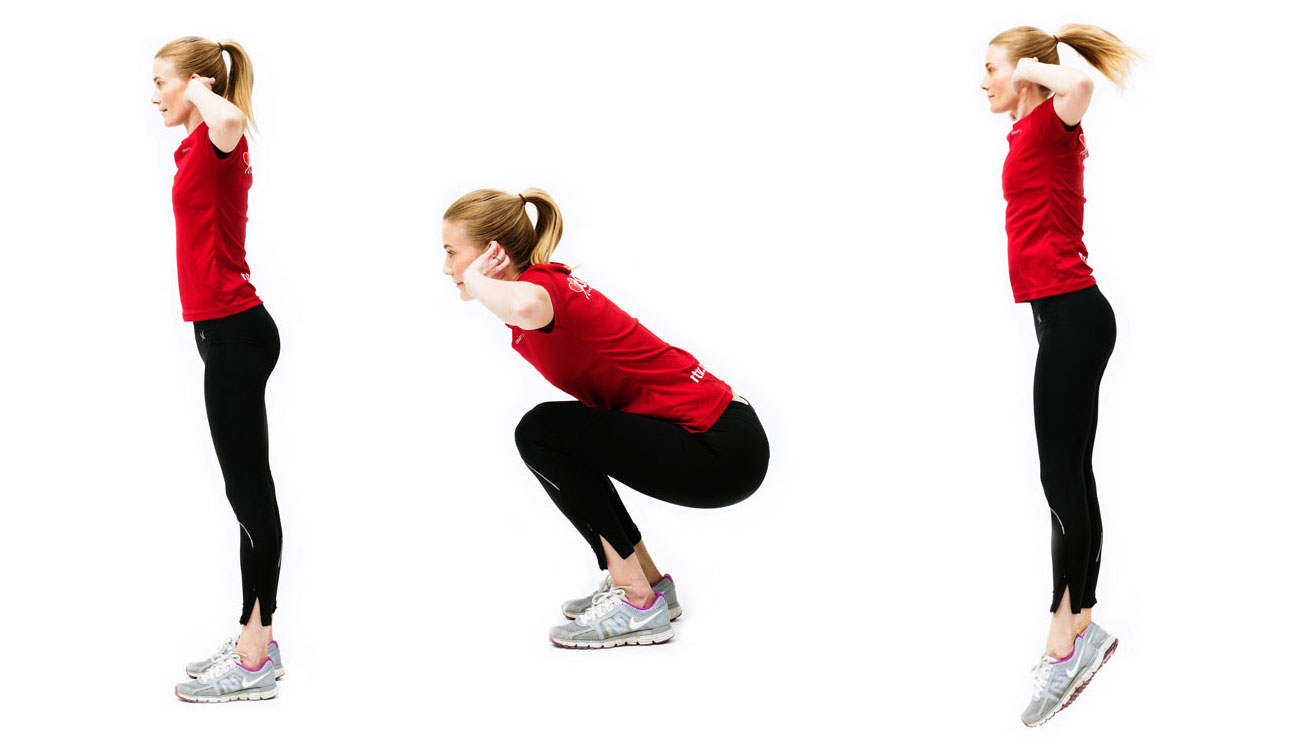 Woman doing Squat jumps