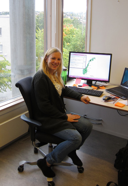 PhD student Stine Svalheim Markussen is happy with her new office.
