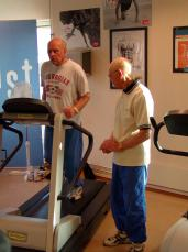 Elderly men working out on a treadmill. Photo credit: NTNU Info/Tor. H. Monsen